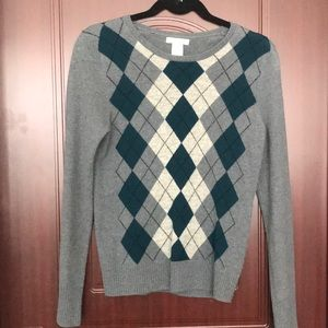 Argyle patterned cashmere sweater
